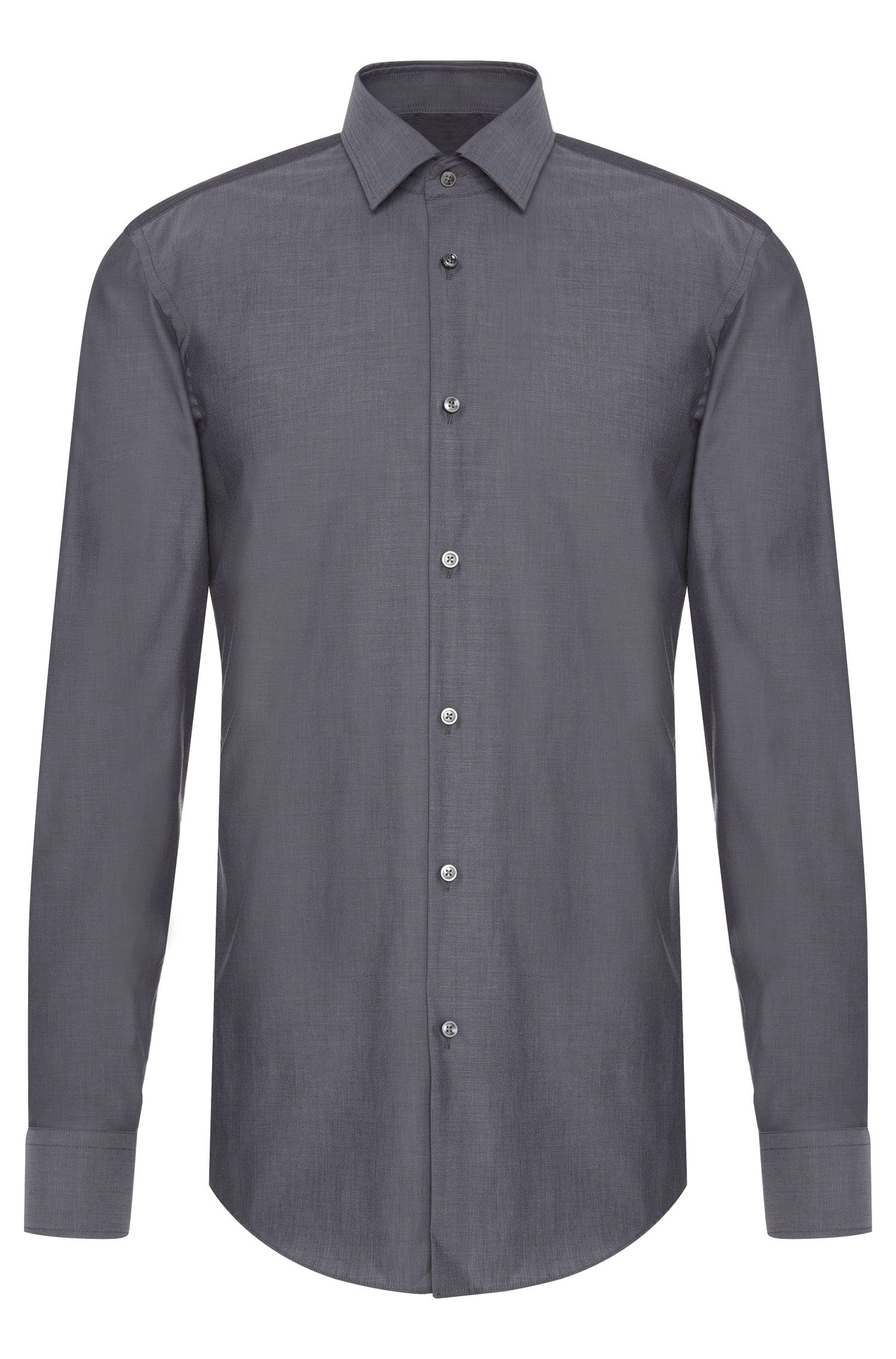 Unifarbenes Slim-Fit Hemd aus Baumwolle: 'Jenno'