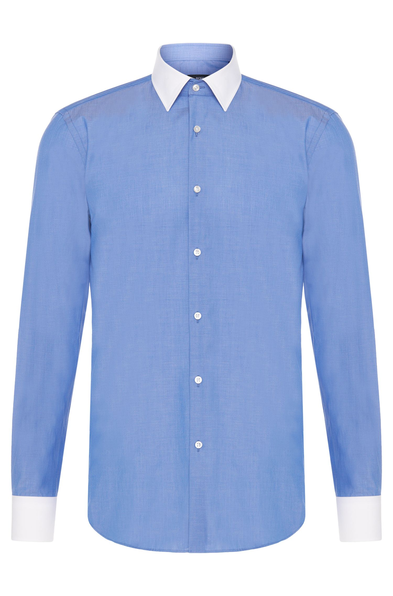 Slim-fit shirt in cotton with contrasting details: 'Jonnes'