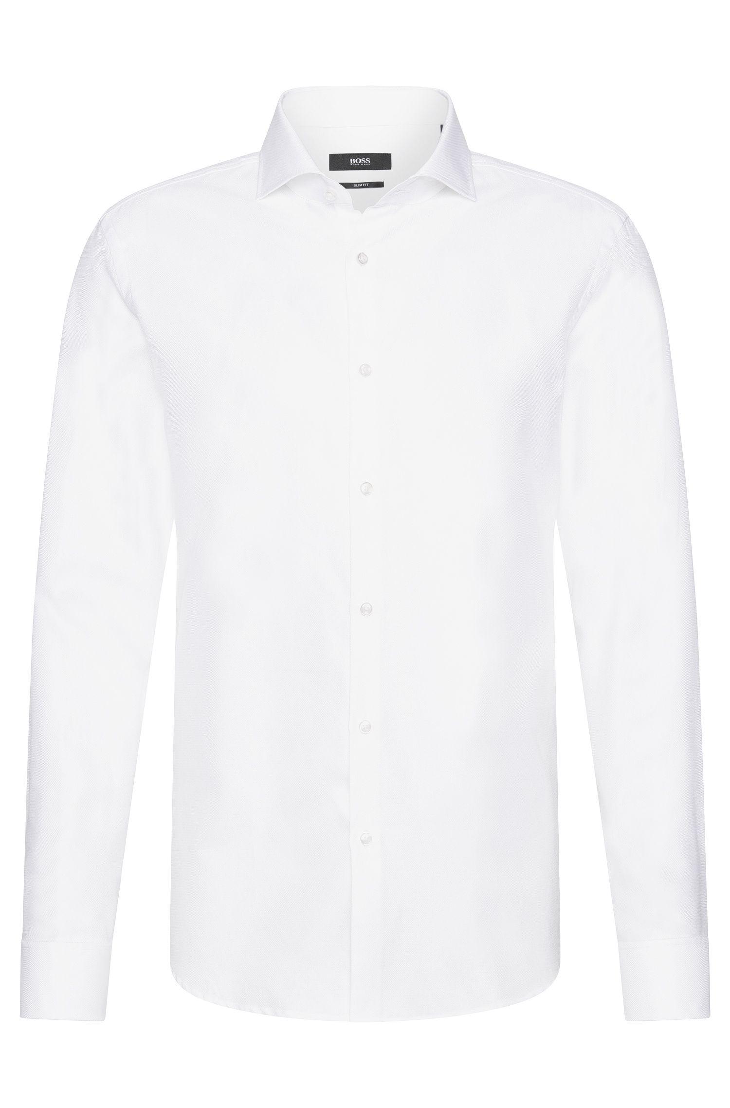 Slim-Fit Hemd aus strukturierter Baumwolle mit Umschlagmanschetten: 'Jaiden'
