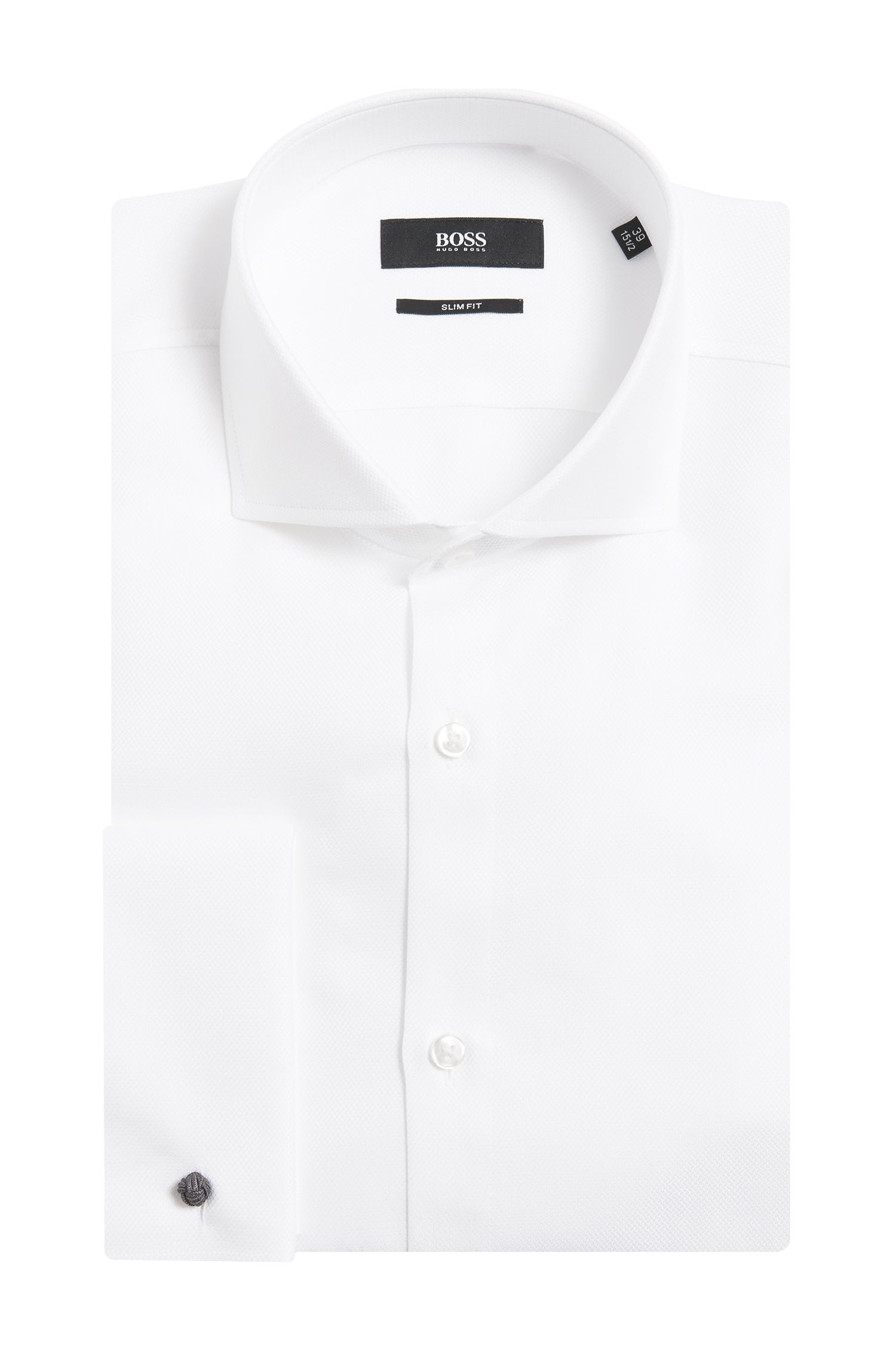 Slim-fit overhemd van gestructureerde katoen met omgeslagen manchetten: 'Jaiden'