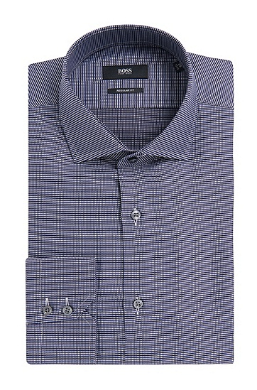 Fein gemustertes Regular-Fit Hemd aus Baumwolle: 'Gordon', Dunkelblau