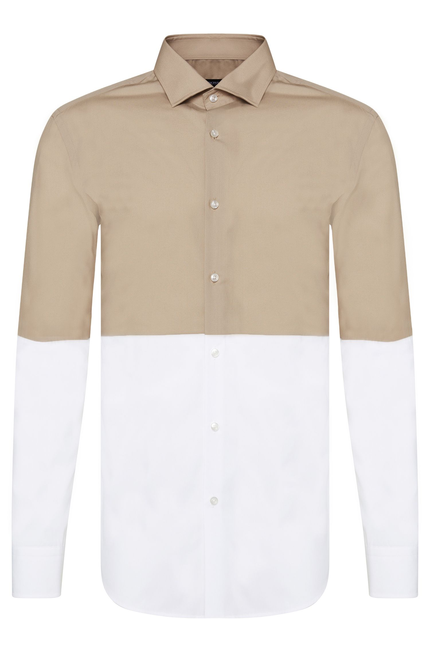 2-tone slim-fit shirt in cotton: 'Jeven'