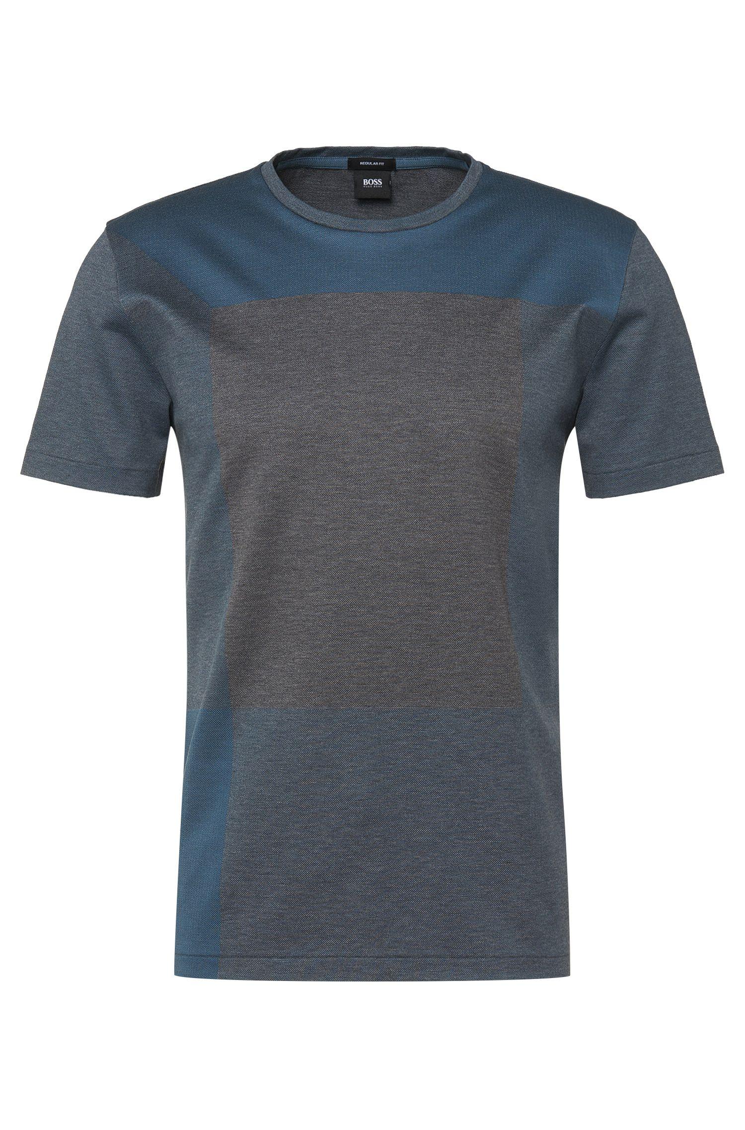 T-shirt Regular Fit en coton à motifs géométriques: «Tiburt11»