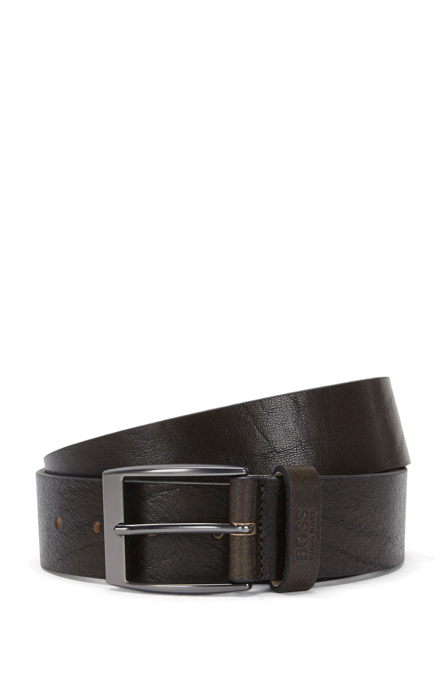 Belt in grained leather with a pin buckle: 'Simon_Sz40_ltgr'