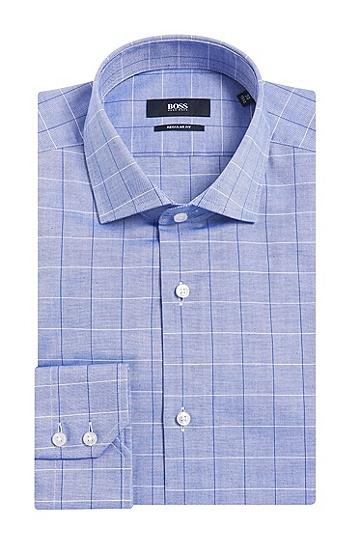 Regular-Fit Hemd aus Baumwolle mit großem Karo-Muster: 'Gordon', Blau