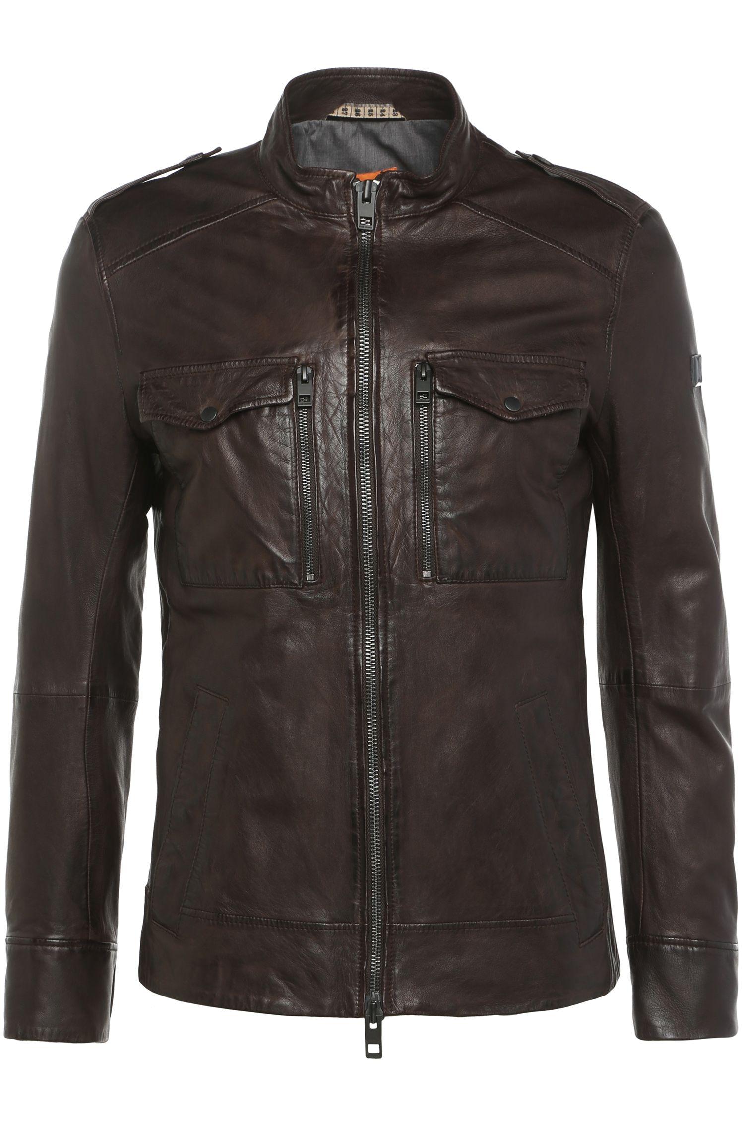 Slim-fit leather jacket with knit inserts: 'Jespar'