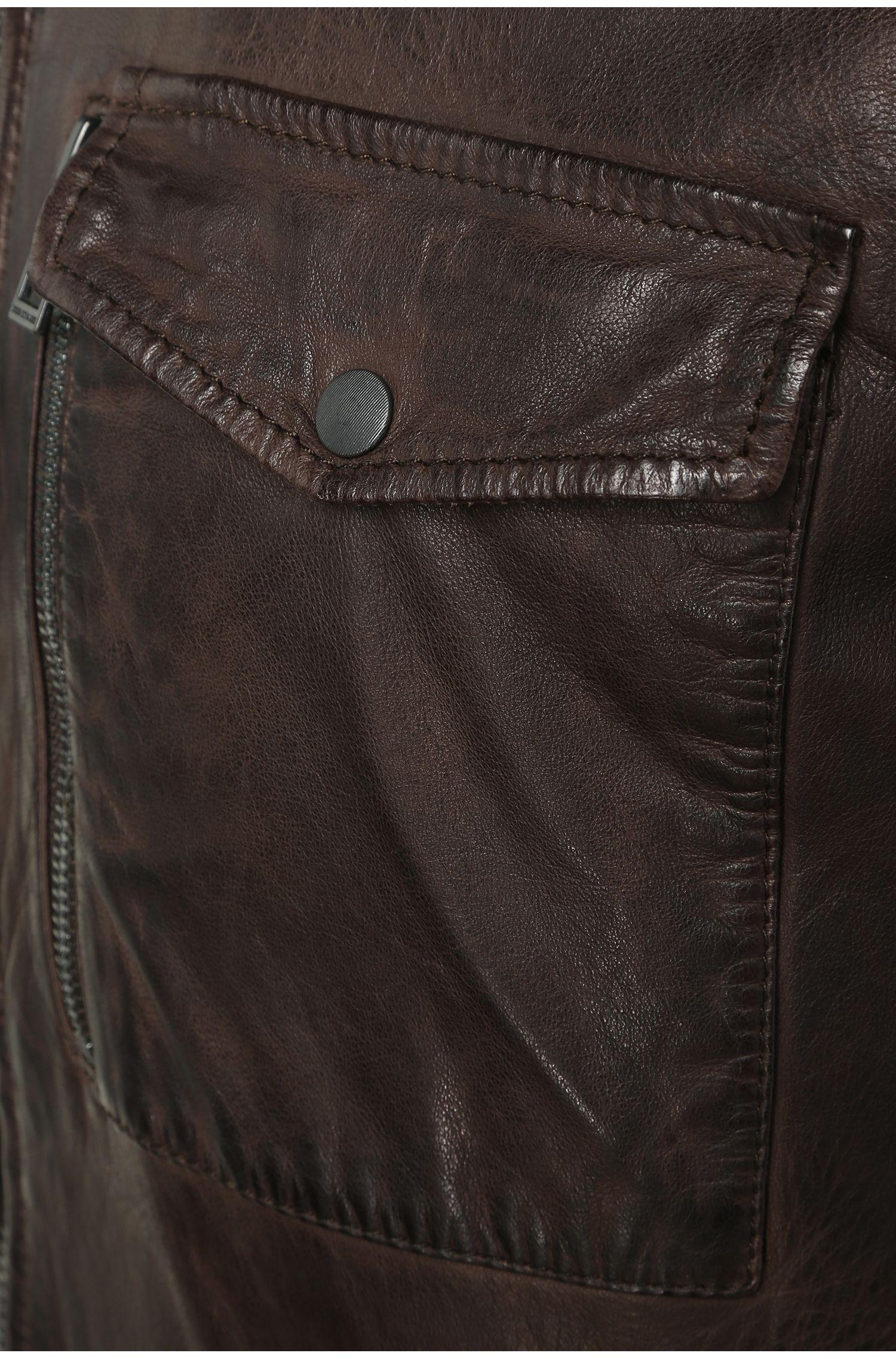 Slim-fit leren jas met gebreide inzetten: 'Jespar'