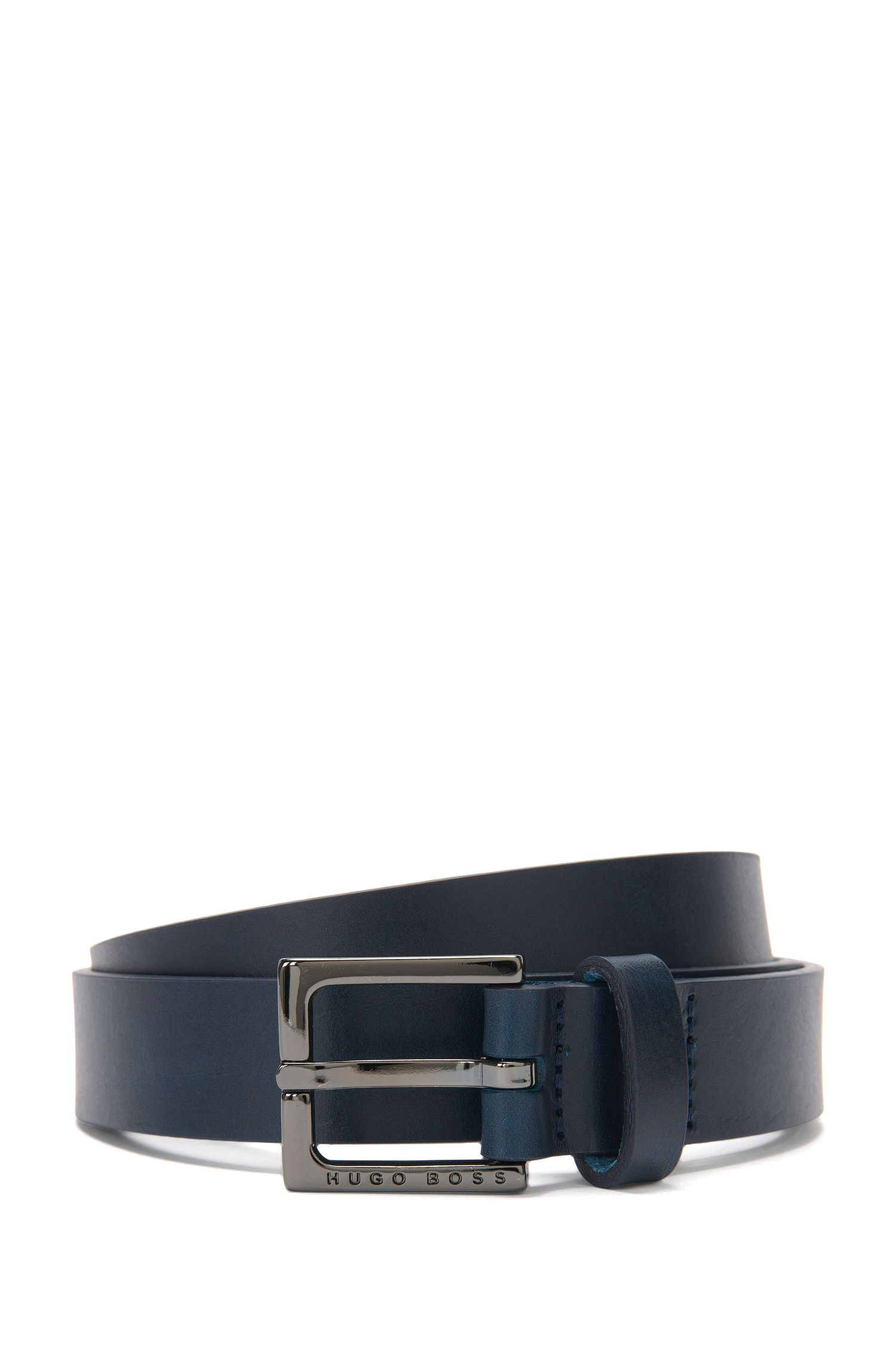 Narrow belt in smooth leather: 'Clay_Sz25_Itpl'