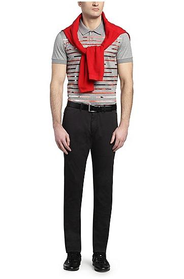 Bedrucktes Slim-Fit Polo aus Baumwolle: ´Paule 6`, Hellgrau