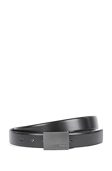 Handgefertigter Wendegürtel aus Leder mit austauschbaren Schnallen: 'Gervy_Or30_ps', Schwarz
