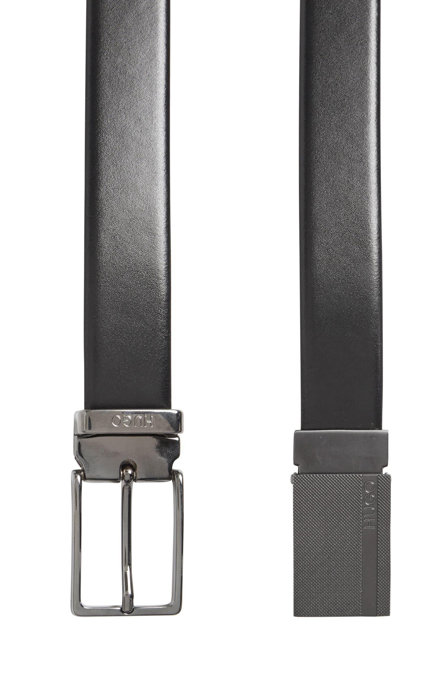 Handgefertigter Wendegürtel aus Leder mit austauschbaren Schnallen: 'Gervy_Or30_ps'