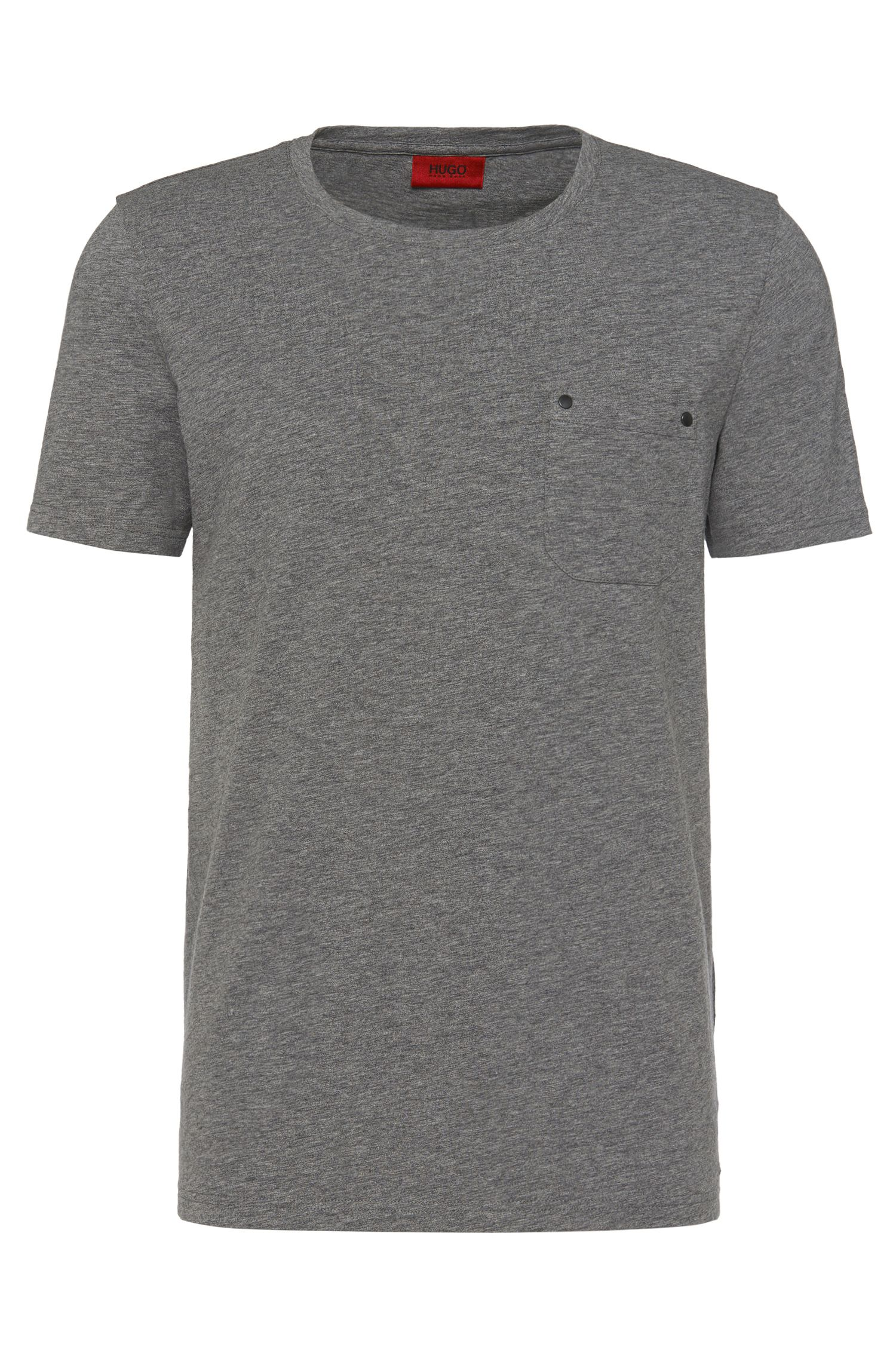 Loose-fit t-shirt in stretch cotton with a breast pocket: 'Dergamo'