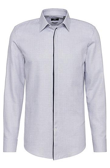 Slim-Fit Hemd aus Baumwolle mit verdeckter Knopfleiste: 'Jamis', Dunkelblau