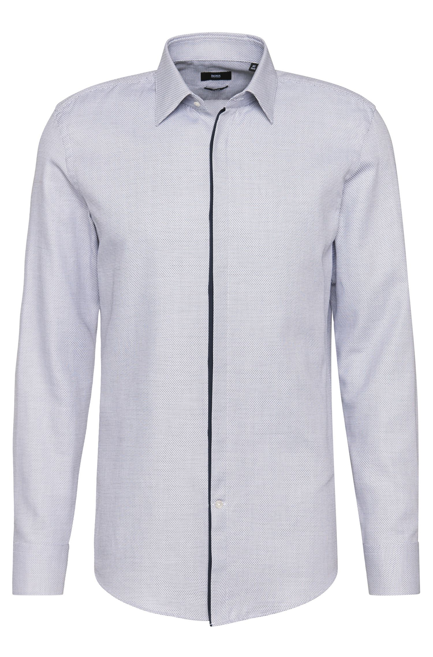 Slim-fit shirt in cotton with a fine texture: 'Jamis'