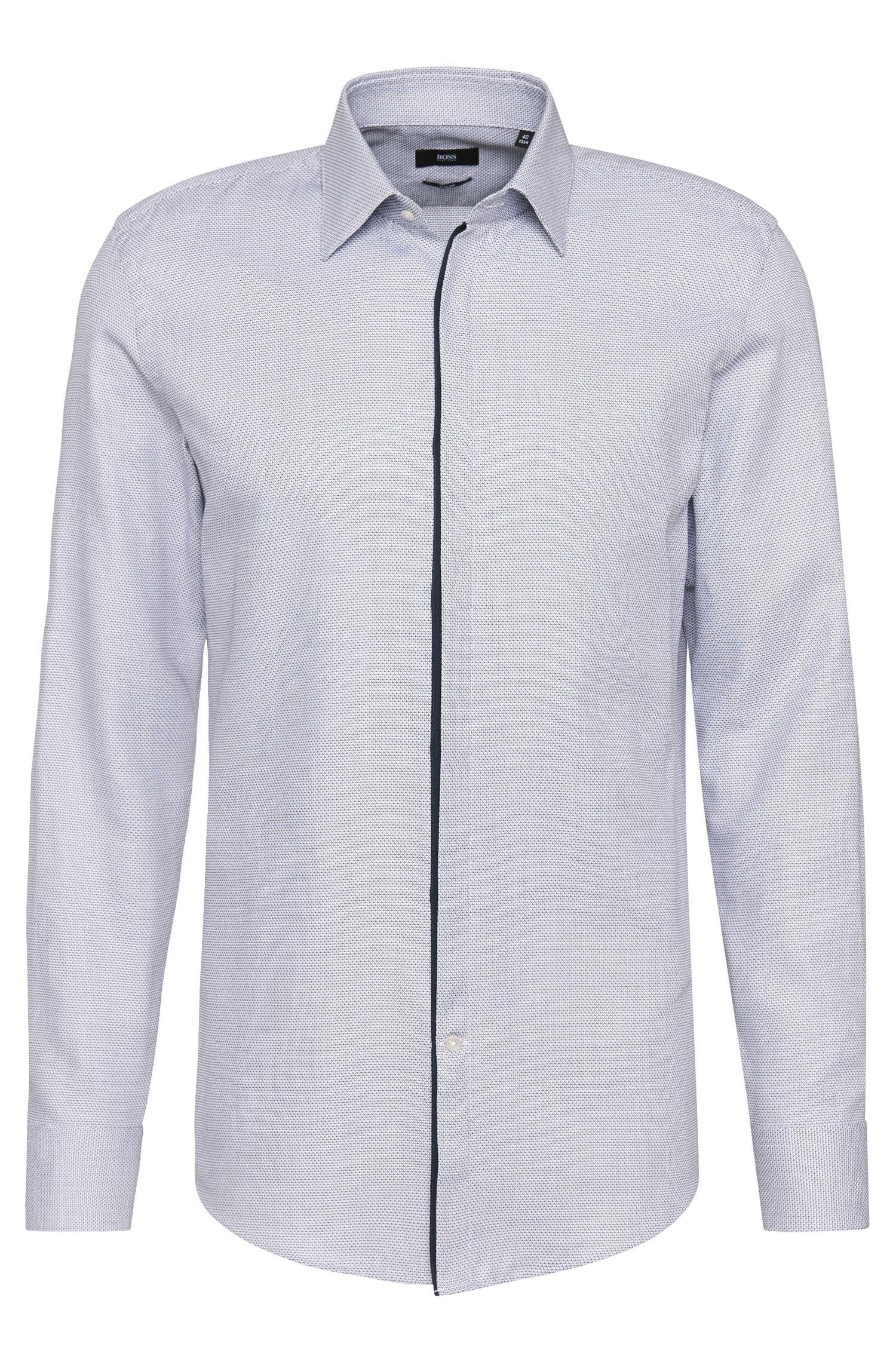 Chemise Slim Fit en coton finement structurée: «Jamis»