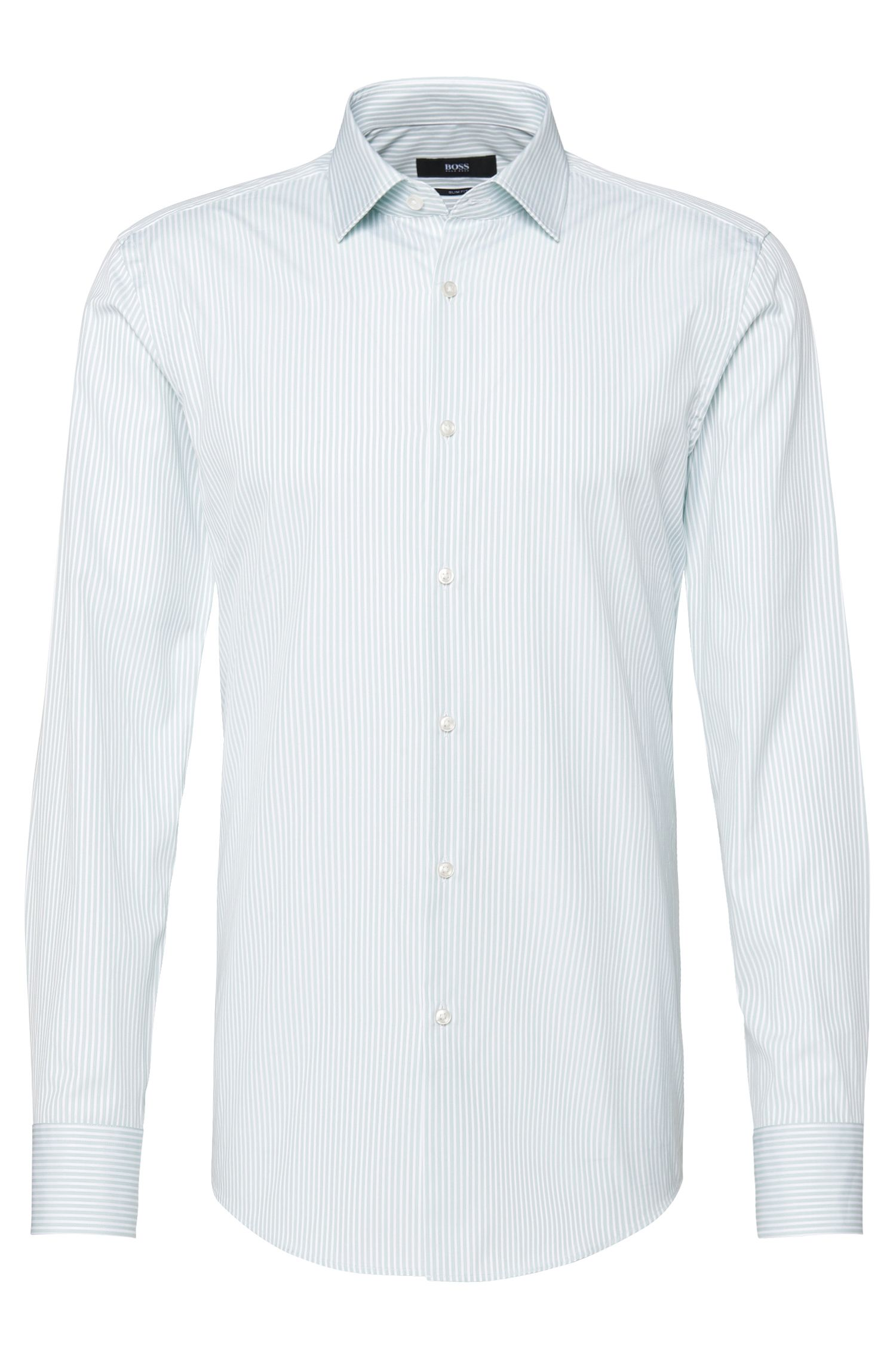 Striped slim-fit shirt in cotton: 'Jenno'