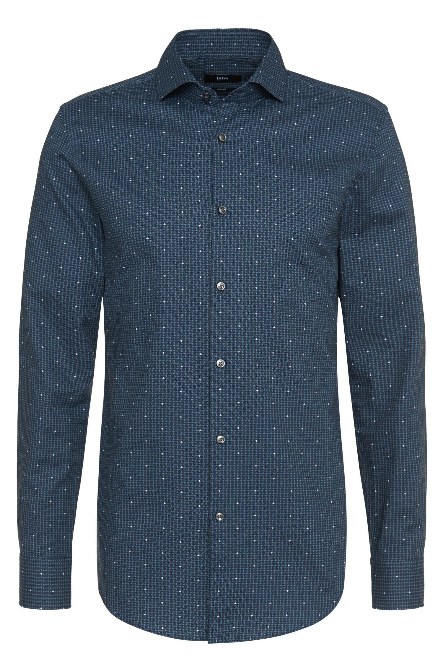 Slim-fit overhemd van zuivere katoen met een fijn dessin: 'Jason'
