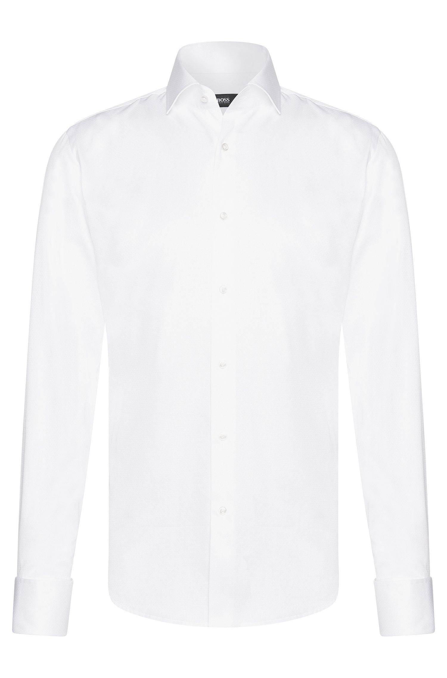 Regular-fit shirt in cotton with delicate embroidery: 'Gardner'
