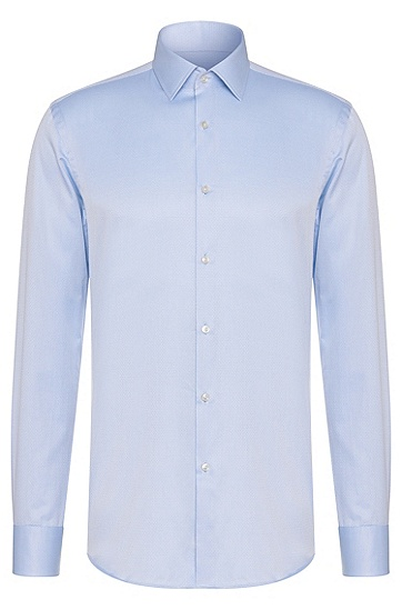 Fein gepunktetes Slim-Fit Hemd aus Baumwolle: 'Jenno', Hellblau