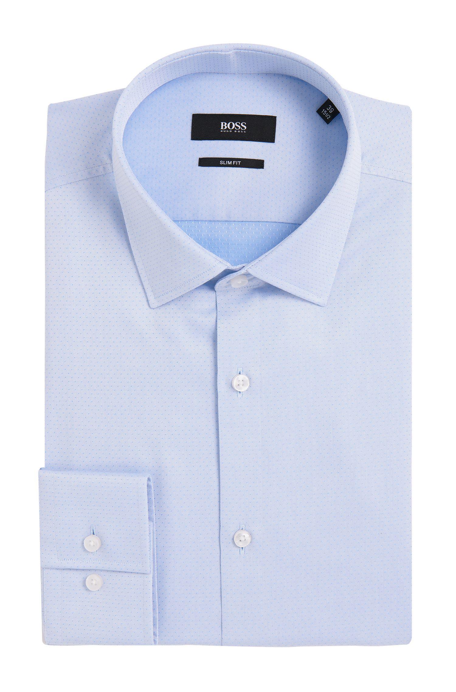 Fein gepunktetes Slim-Fit Hemd aus Baumwolle: 'Jenno'