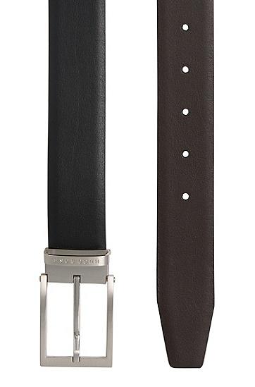 Handgefertigter Wendegürtel aus Leder: 'Olarion_Or35_pp', Schwarz