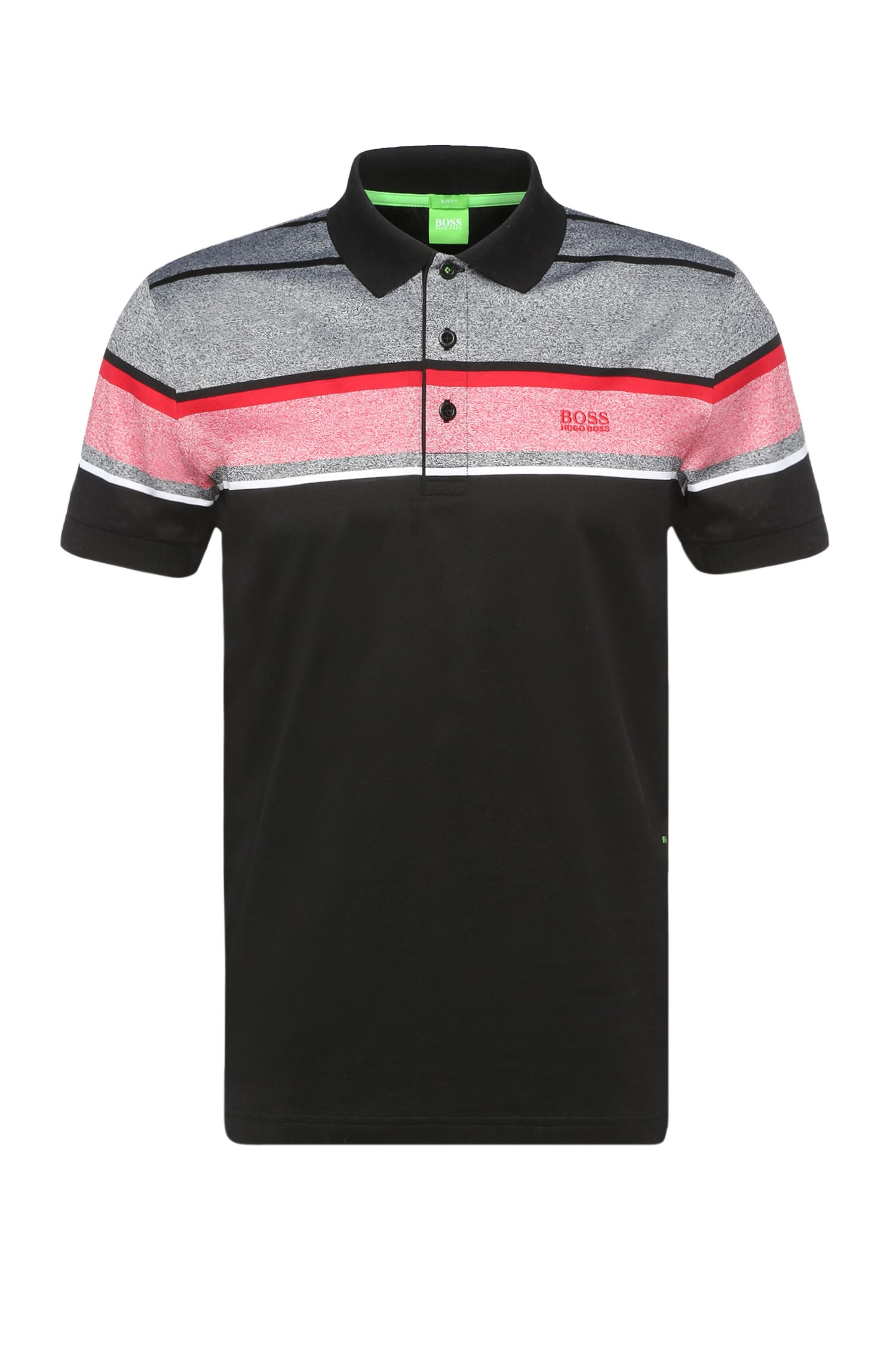 Striped slim-fit polo shirt in pure cotton: 'Paule 5'