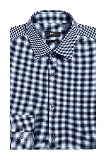 Slim-Fit Hemd aus Baumwolle mit Vichy-Karo: 'Jenno', Dunkelblau