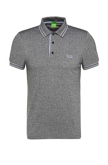 Slim-Fit Poloshirt aus Baumwolle in Salz-und-Pfeffer-Optik: ´Paule 2`, Schwarz