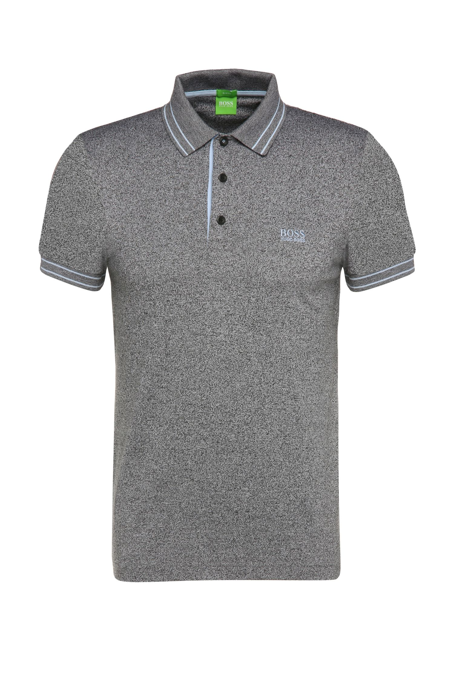 Slim-fit cotton polo shirt in salt and pepper look: 'Paule 2'