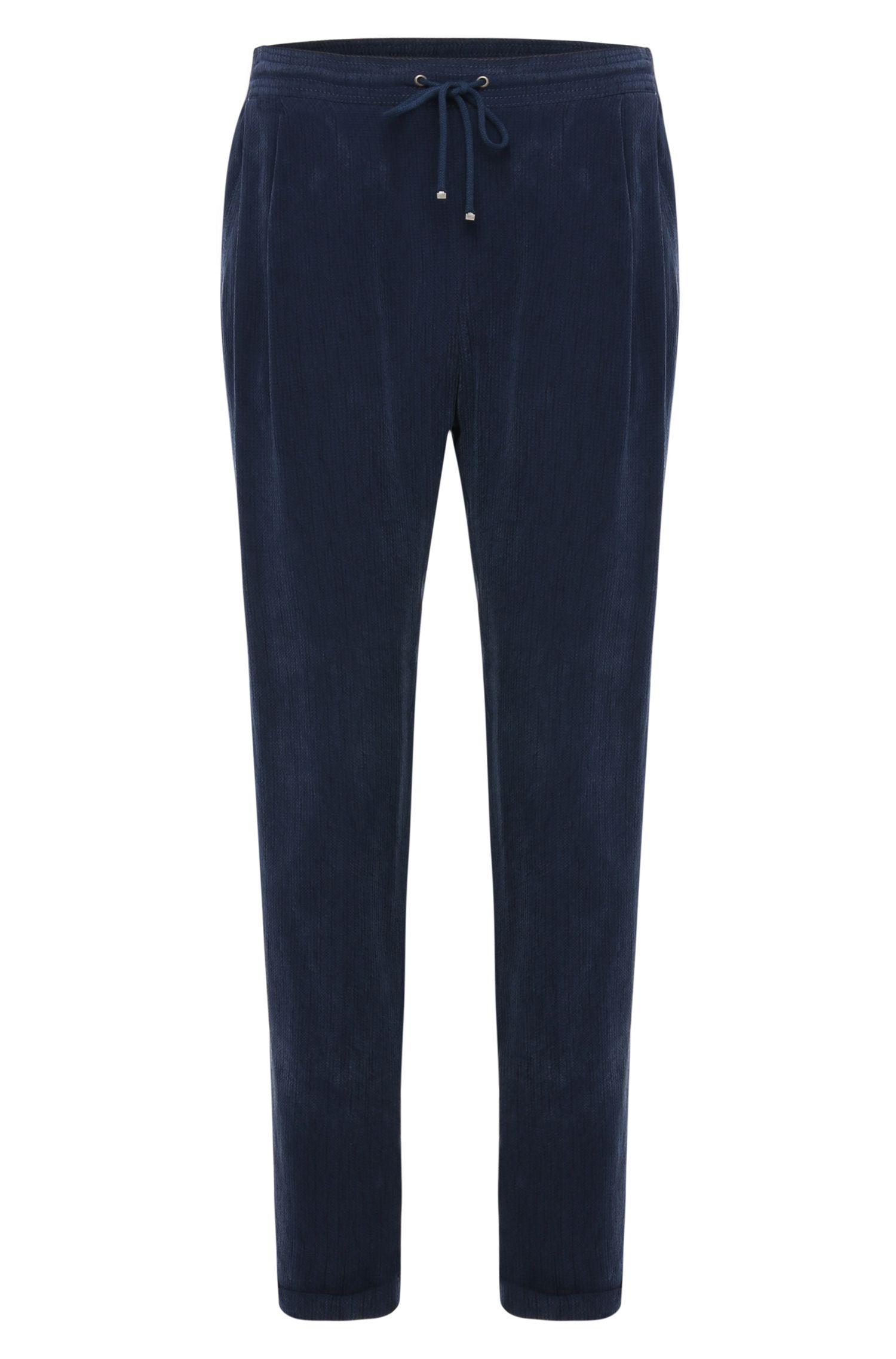 Comfort-fit drawstring trousers in textured fabric: 'Sicupi'
