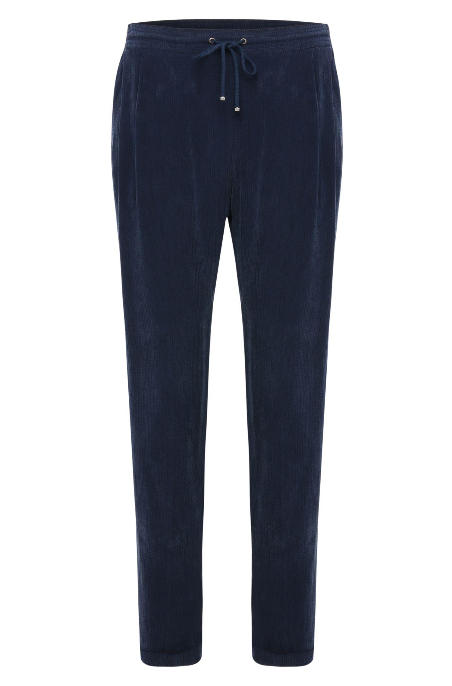 Pantalon Comfort Fit à cordon de serrage, confectionné en matière texturée: «Sicupi»