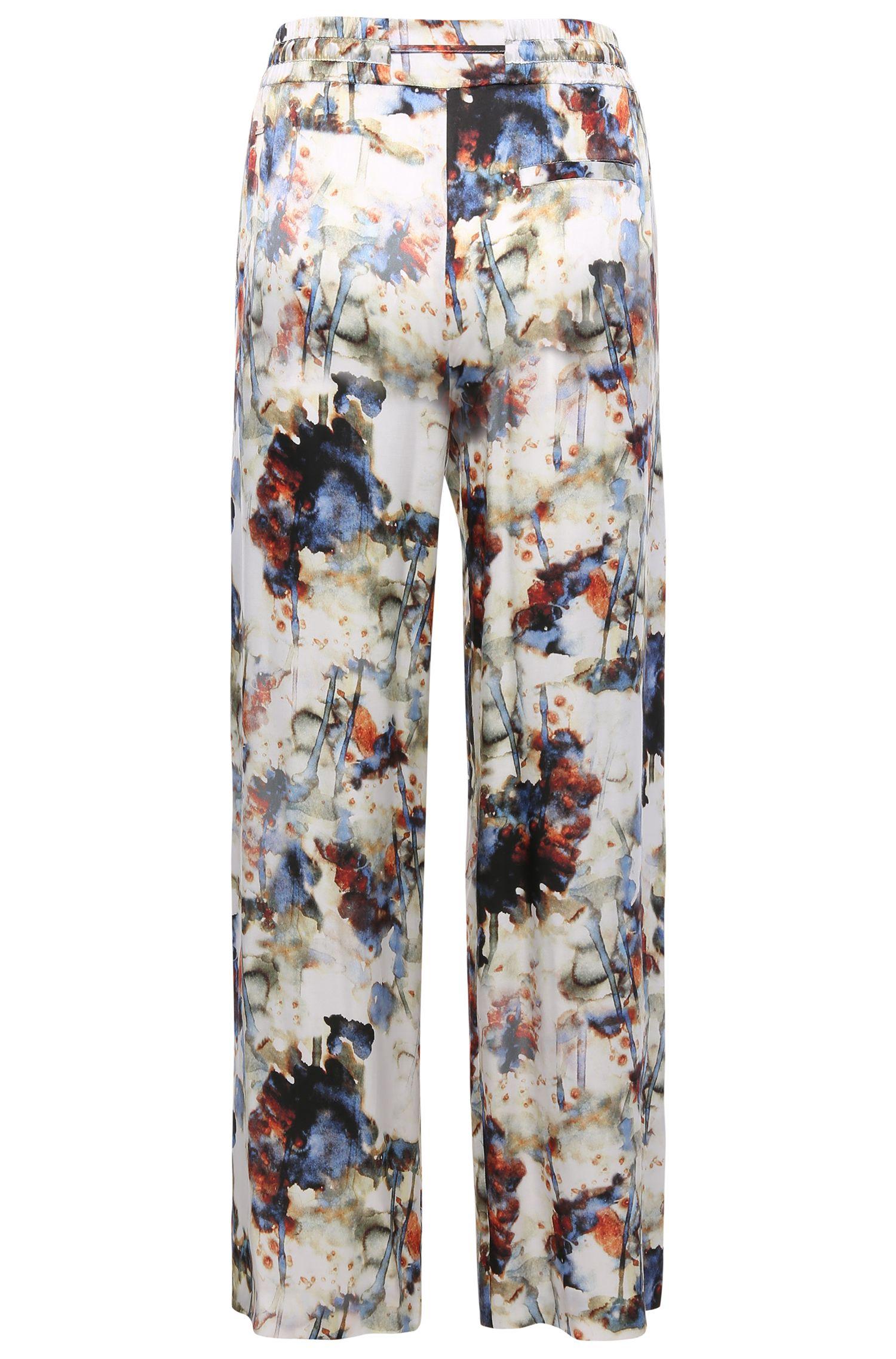 Pantalon Comfort Fit à cordon de serrage, confectionné en mélange de viscose et de soie à motif: «Saflower»