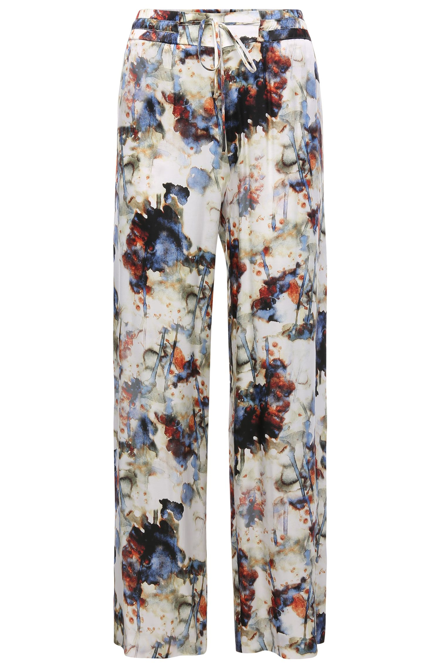 Patterned comfort-fit drawstring trousers in viscose and silk blend: 'Saflower'