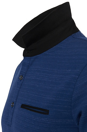 Dezent gestreiftes Loose-Fit T-Shirt aus Stretch-Baumwolle: 'Desaro', Dunkelblau