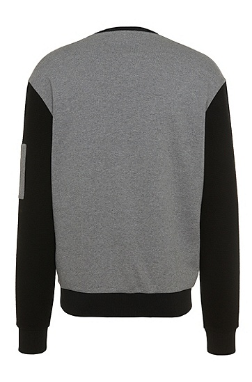 Zweifarbiges Loose-Fit Sweatshirt aus Baumwolle: 'Danremo', Hellgrau