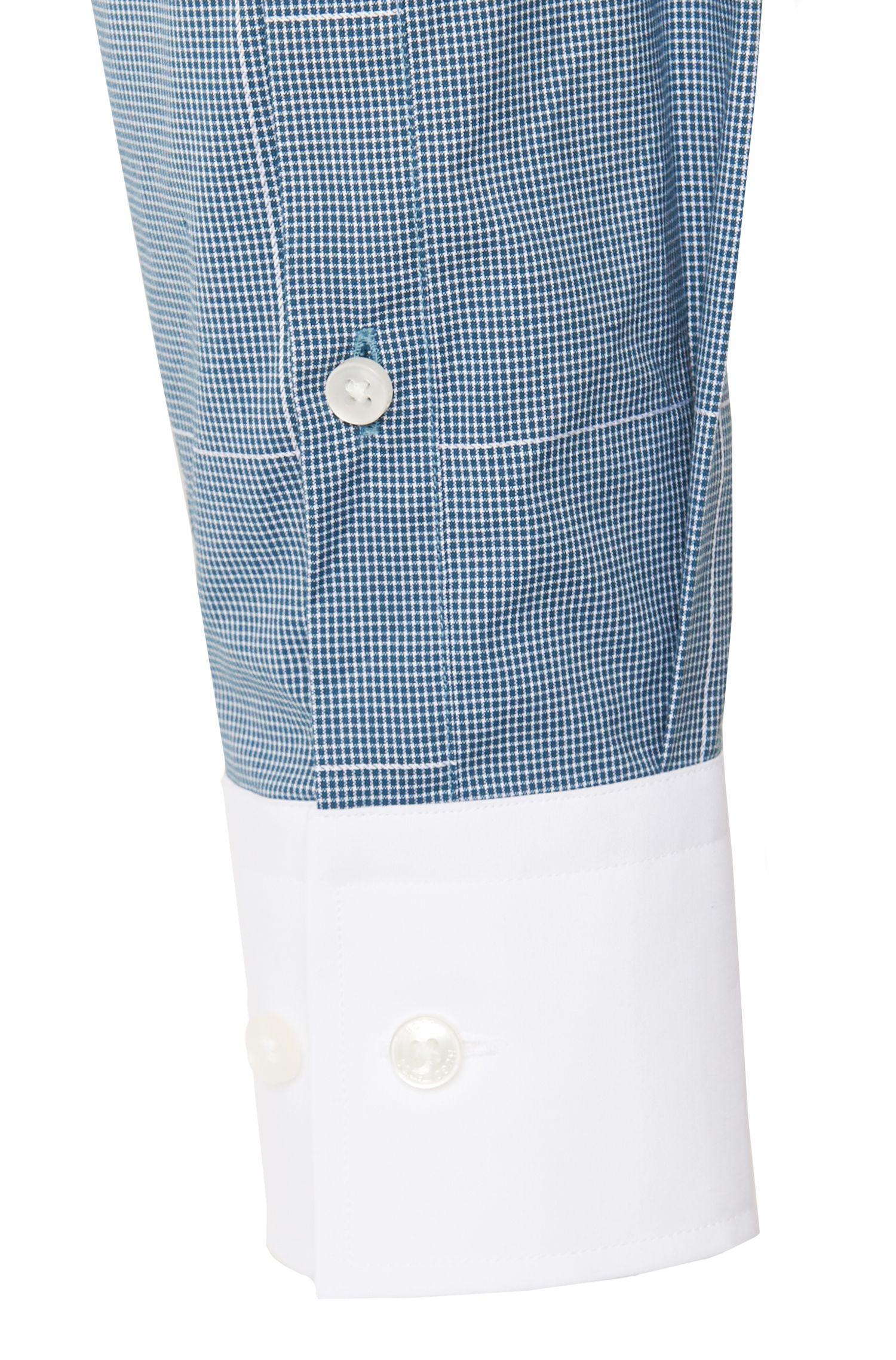 Slim-fit overhemd van katoen met contrasterende details: 'Jonnes'