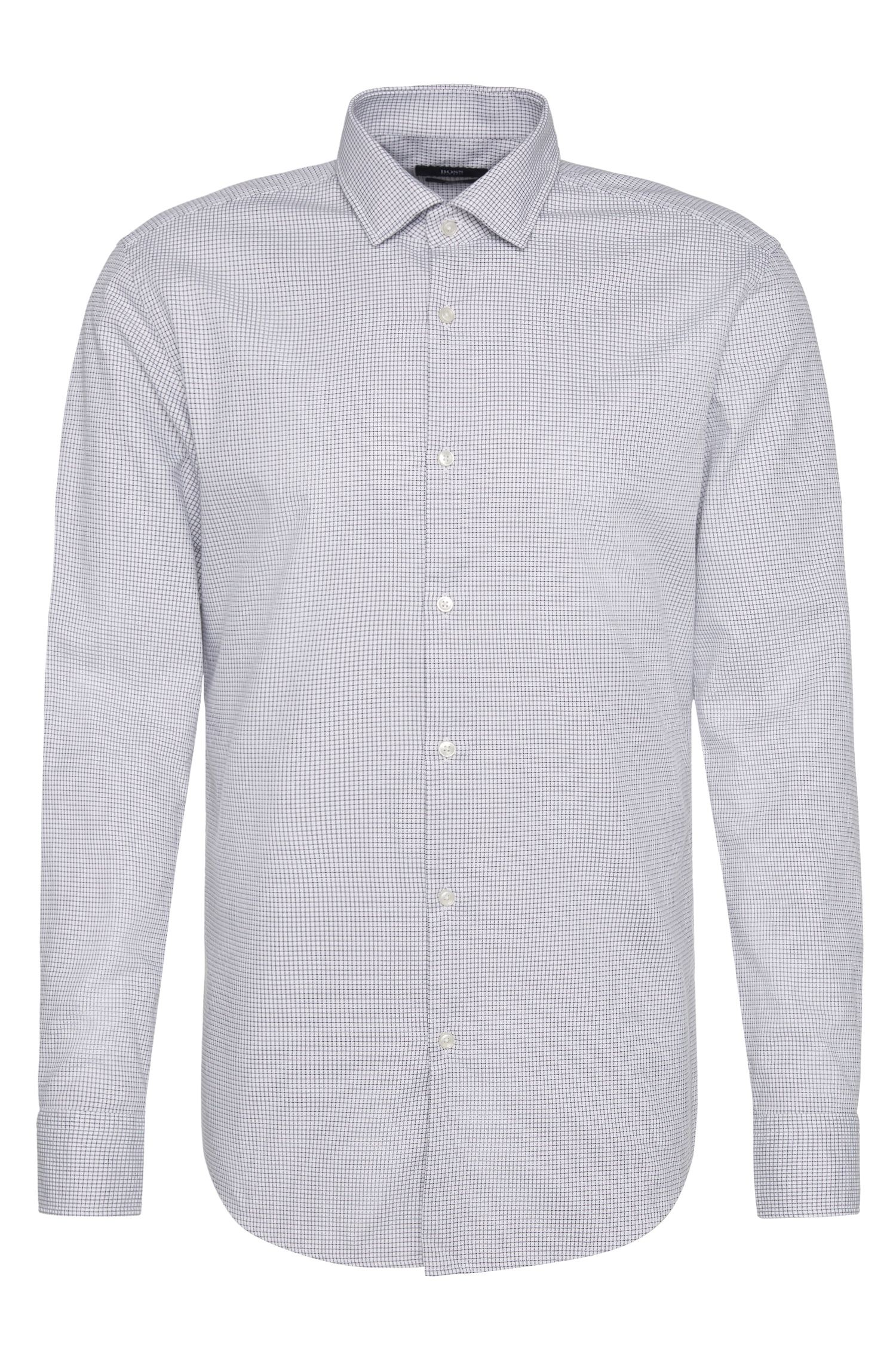 Finely checked slim-fit shirt in cotton: 'Jex'