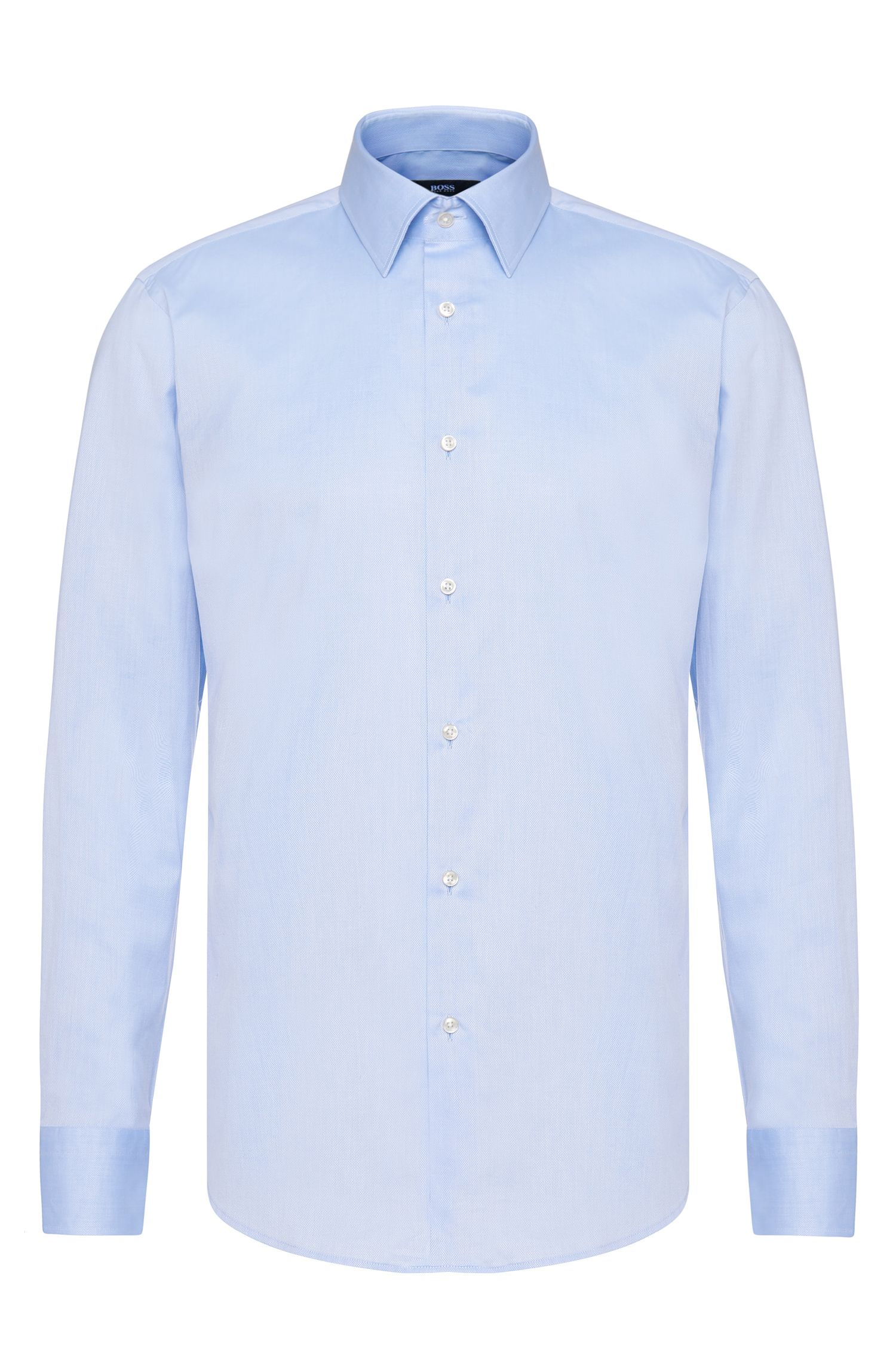 Regular-fit cotton shirt with French sportsman cuffs: 'Enzo'