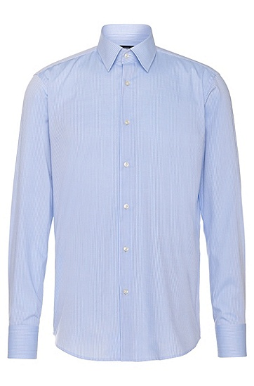 Gestreiftes Regular-Fit Hemd aus Baumwolle: 'Enzo', Hellblau