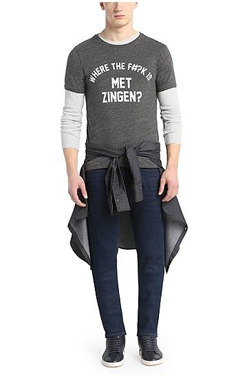 Baumwoll-T-Shirt mit Frontprint: ´Tye`, Schwarz