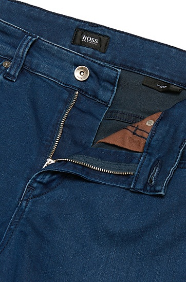 Slim-Fit Jeans aus Baumwoll-Mix mit Used-Waschung: 'Delaware3', Blau