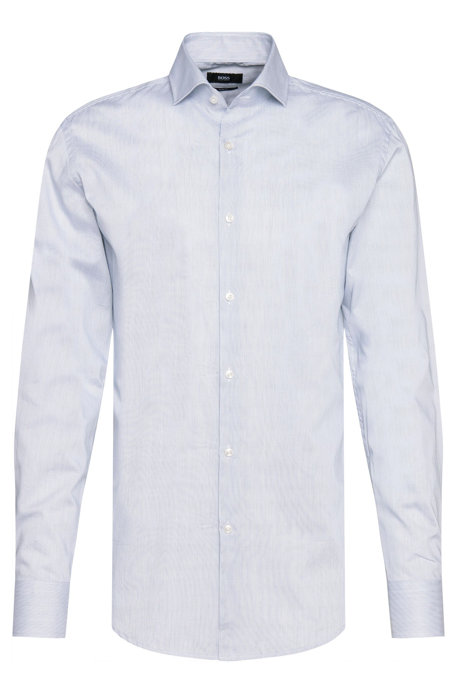 Striped slim-fit shirt in cotton: 'Jason'