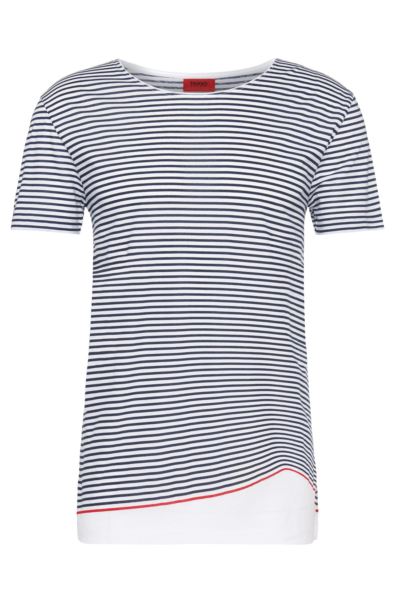 Striped, loosely fitting t-shirt in cotton: 'Davings'