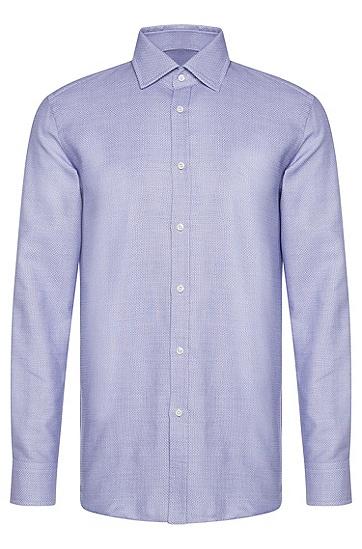 Fein gemustertes Slim-Fit Tailored Hemd aus Baumwolle: 'T-Shane', Blau