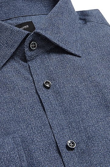 Slim-Fit Hemd aus Baumwolle: 'T-Shane', Dunkelblau
