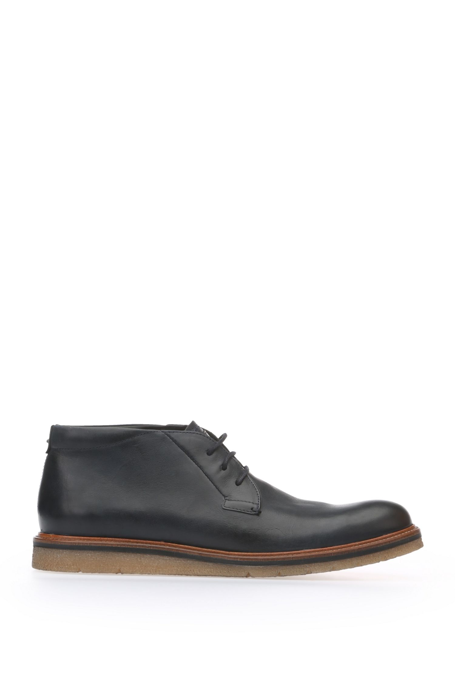 Ankle-high lace-ups in smooth leather: 'Tuned_Desb_ltpl'