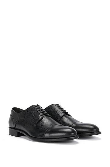 Chaussures à lacets en cuir présentant différentes structures: «Stockholm_Derb_mxct», Noir