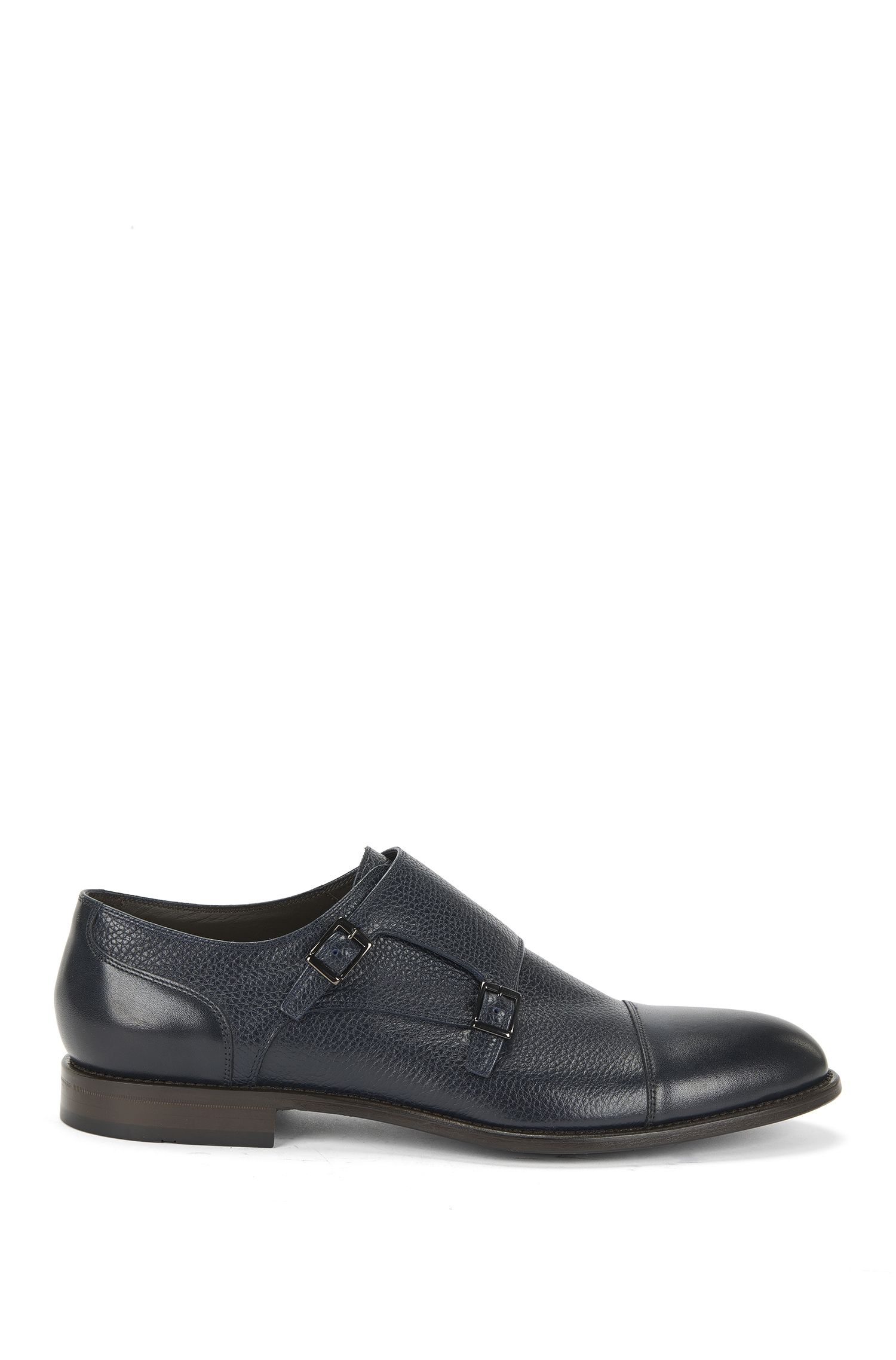 Double monks in grained leather with trim: 'Stockholm_Monk_mxct'