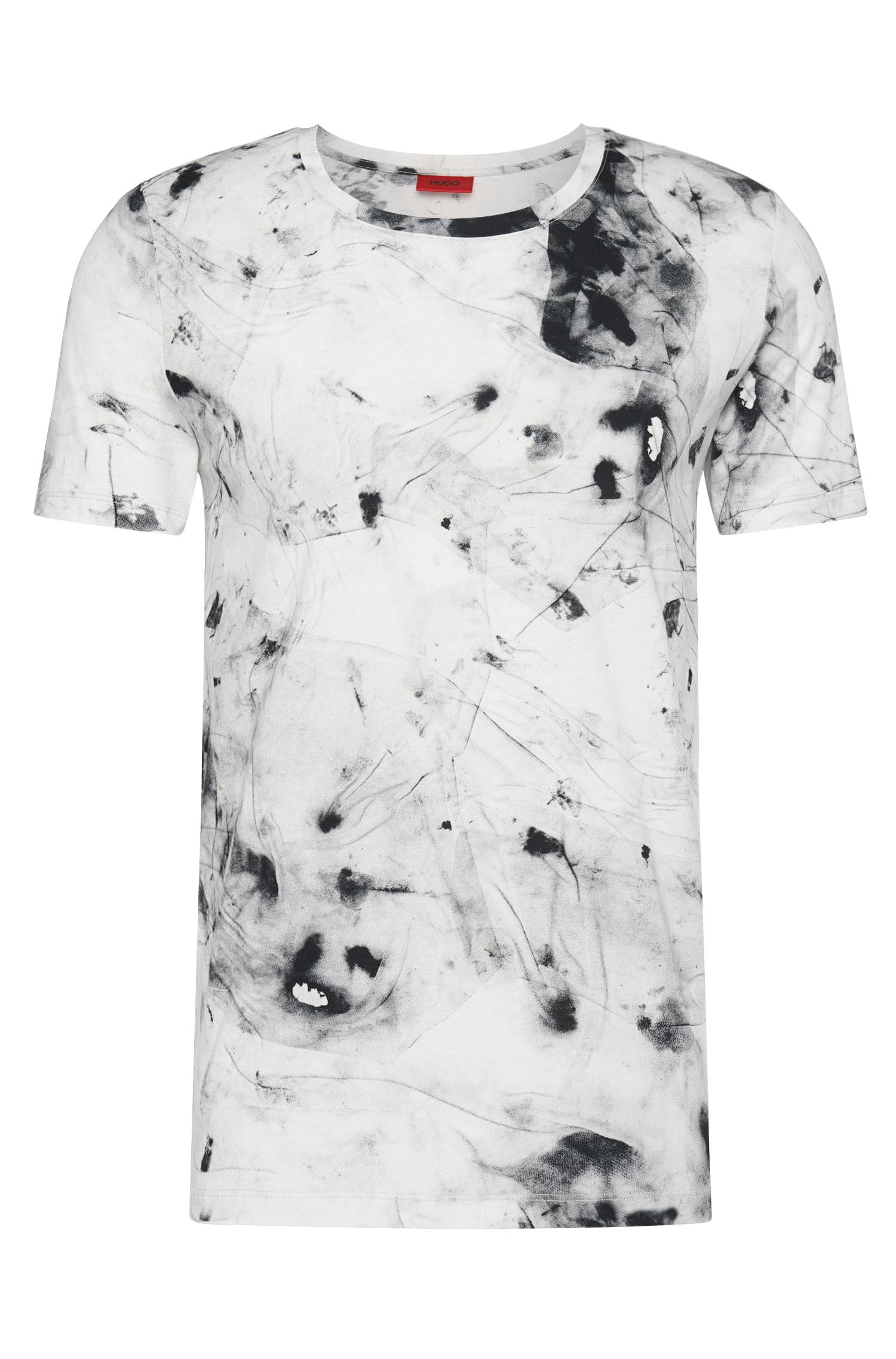 Regular-fit t-shirt in cotton with all-over pattern: 'Durn'