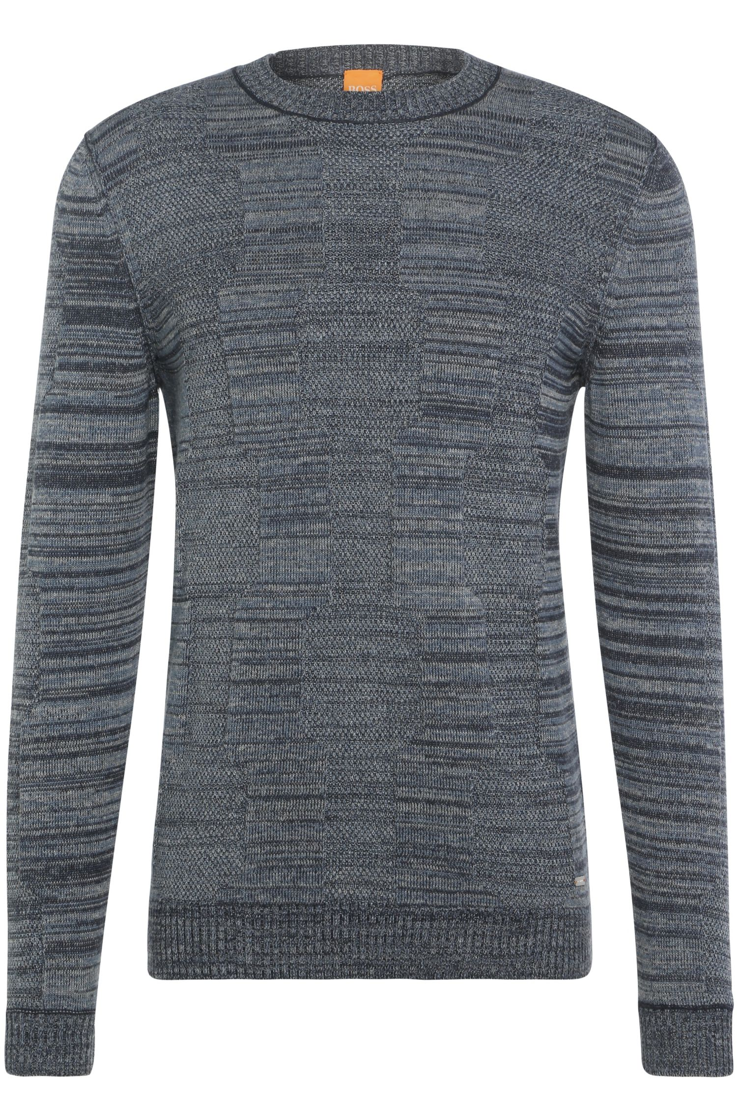 Mottled slim-fit sweater in cotton blend with silk: 'Akolar'